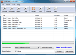 Capture d'écran FLV to MP3 Converter