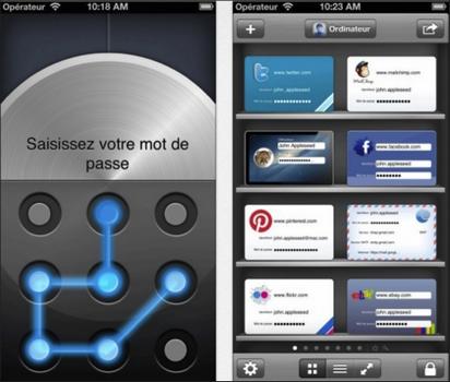 Capture d'écran oneSafe iOS