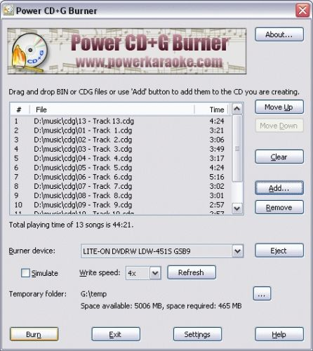 Capture d'écran Power CD+G Burner
