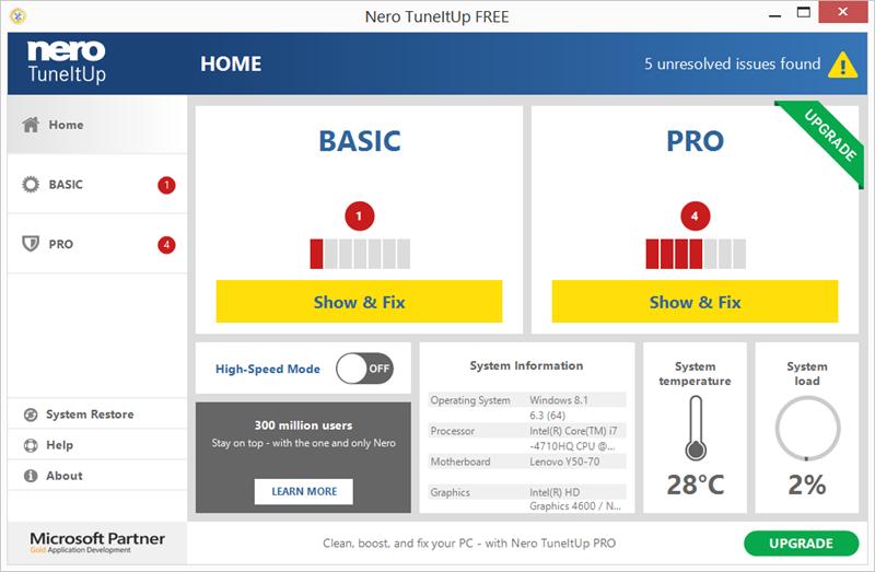 Capture d'écran Nero TuneItUp Free 2.8.0.84