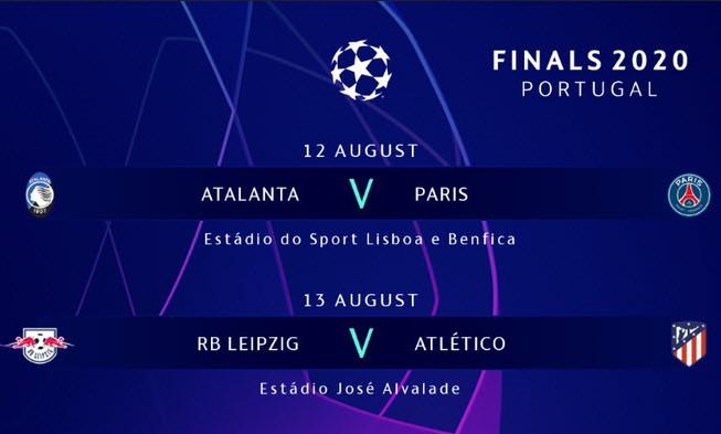 Capture d'écran Calendrier Ligue des Champions (août 2020)