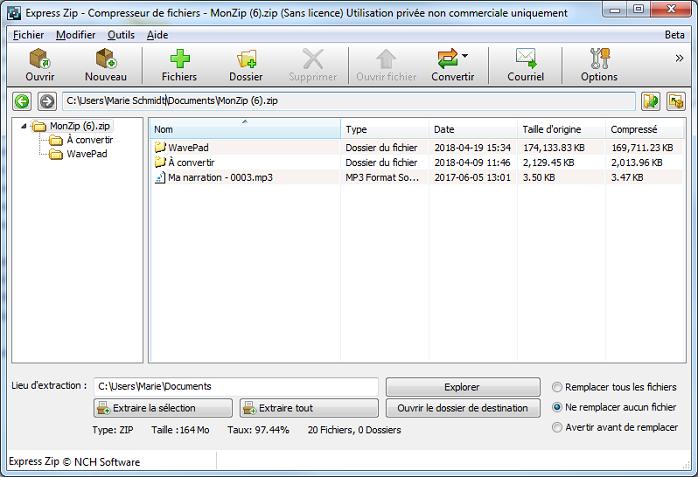 Capture d'écran Express Zip – Logiciel de compression de fichiers