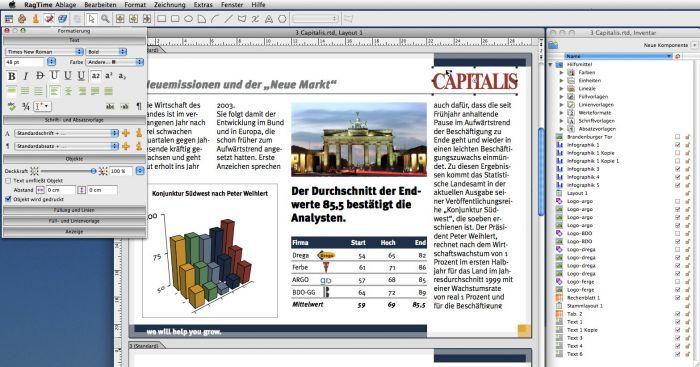 Capture d'écran RagTime Mac