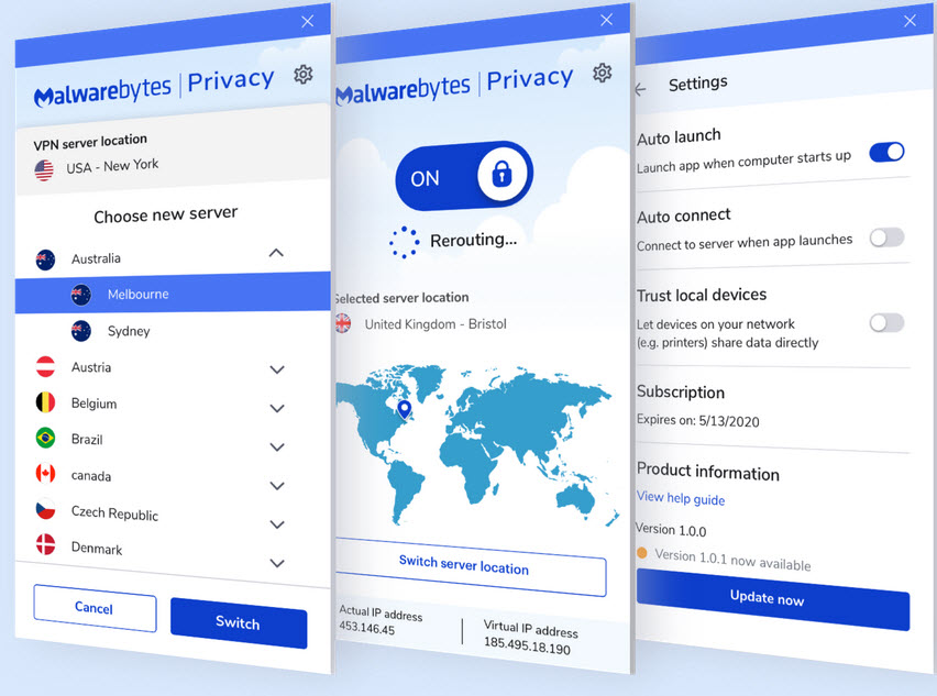 Capture d'écran Malwarebytes Privacy