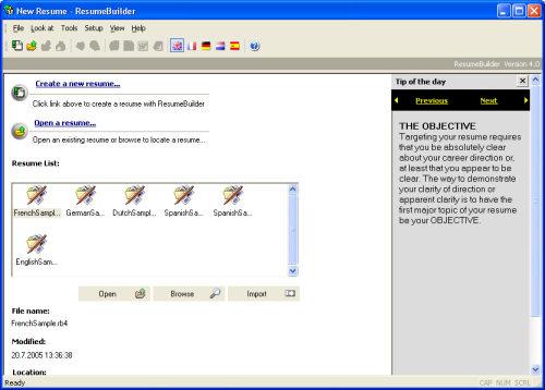 Capture d'écran Sarmsoft Resume Builder