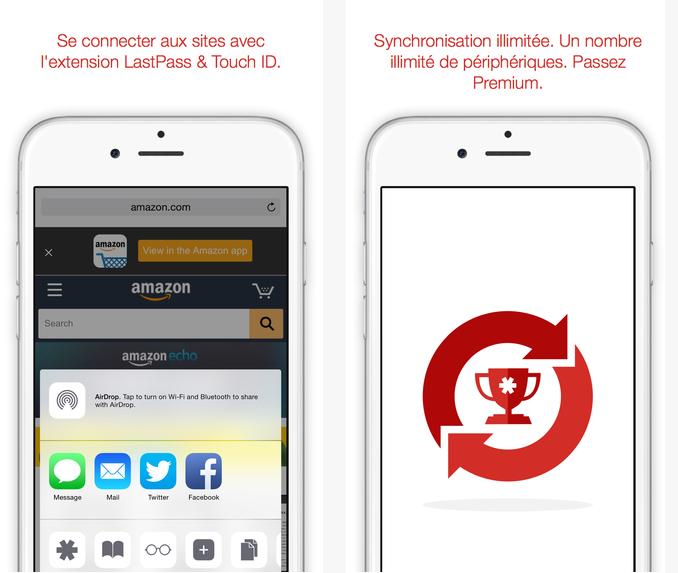 Capture d'écran LastPass iOS