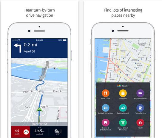 Capture d'écran HERE WeGo iOS