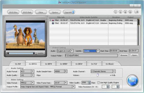 Capture d'écran WinX DVD Ripper