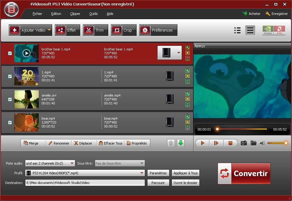 Capture d'écran 4Videosoft PS3 Vidéo Convertisseur