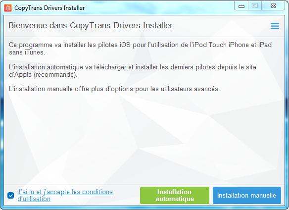 Capture d'écran CopyTrans Drivers Installer
