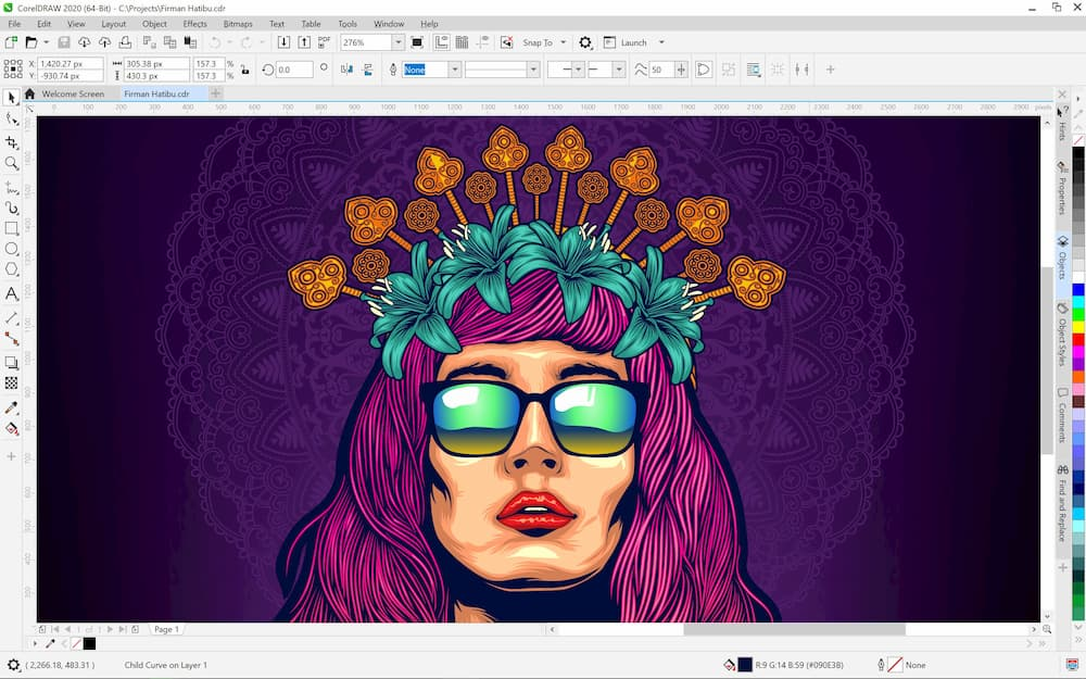 Capture d'écran CorelDRAW Graphics Suite 2020