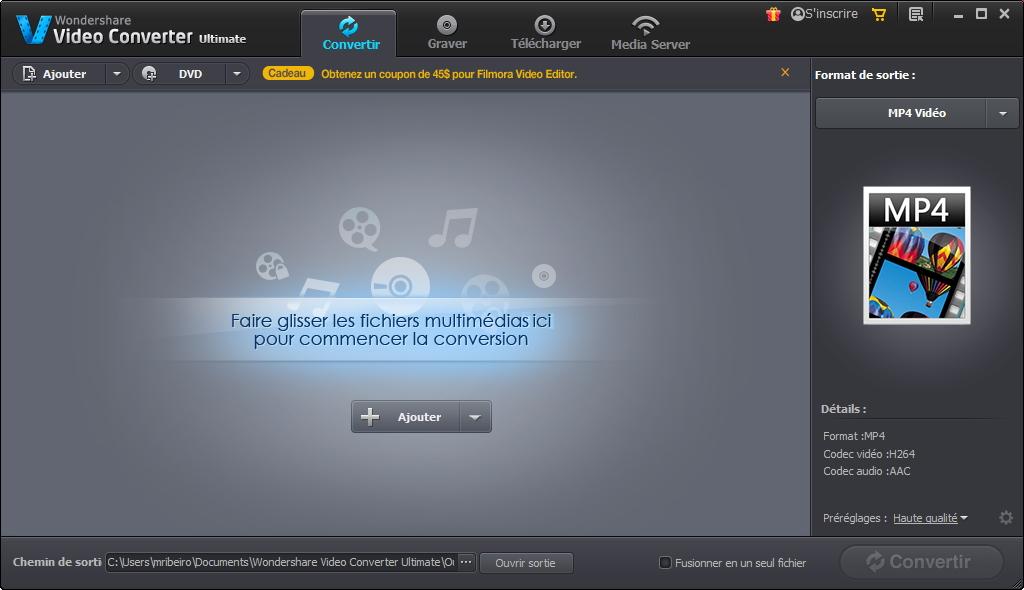 Capture d'écran Wondershare Video Converter Ultimate