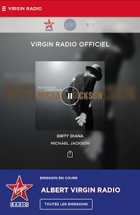 Capture d'écran Virgin Radio