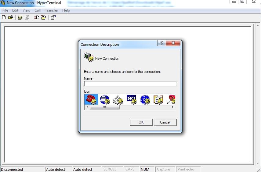 Capture d'écran Hyperterminal