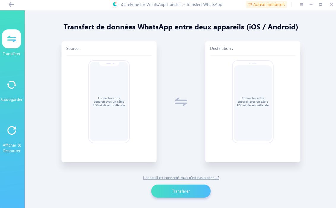 Capture d'écran iCareFone – Transfert WhatsApp