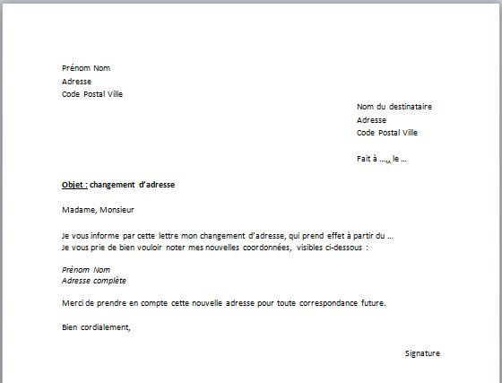 Capture d'écran Modèle de Déclaration de changement d'adresse