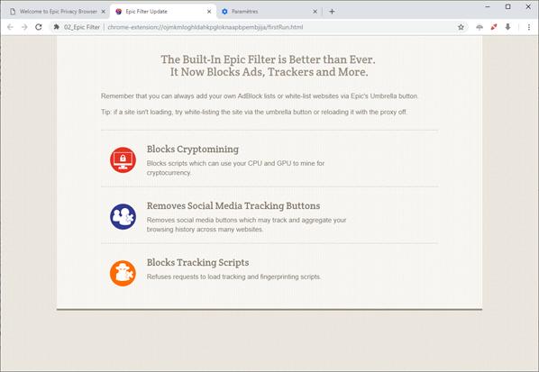 Capture d'écran Epic Privacy Browser