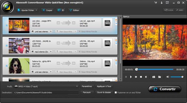 Capture d'écran Aiseesoft Convertisseur Vidéo QuickTime