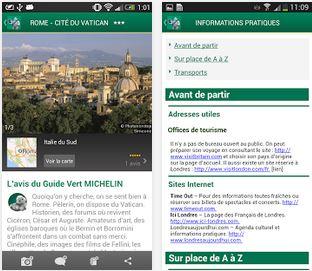Capture d'écran Michelin Voyage iOS