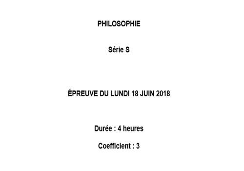 Capture d'écran Bac 2018 Philosophie Série S