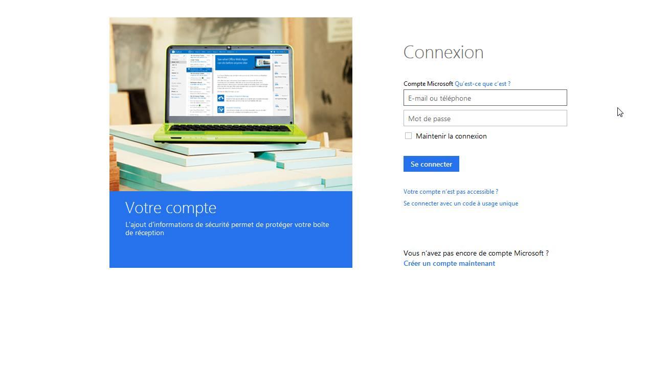 Capture d'écran Outlook webmail