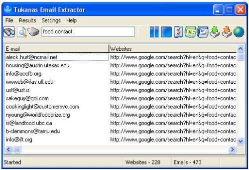 Capture d'écran Tukanas Email Extractor