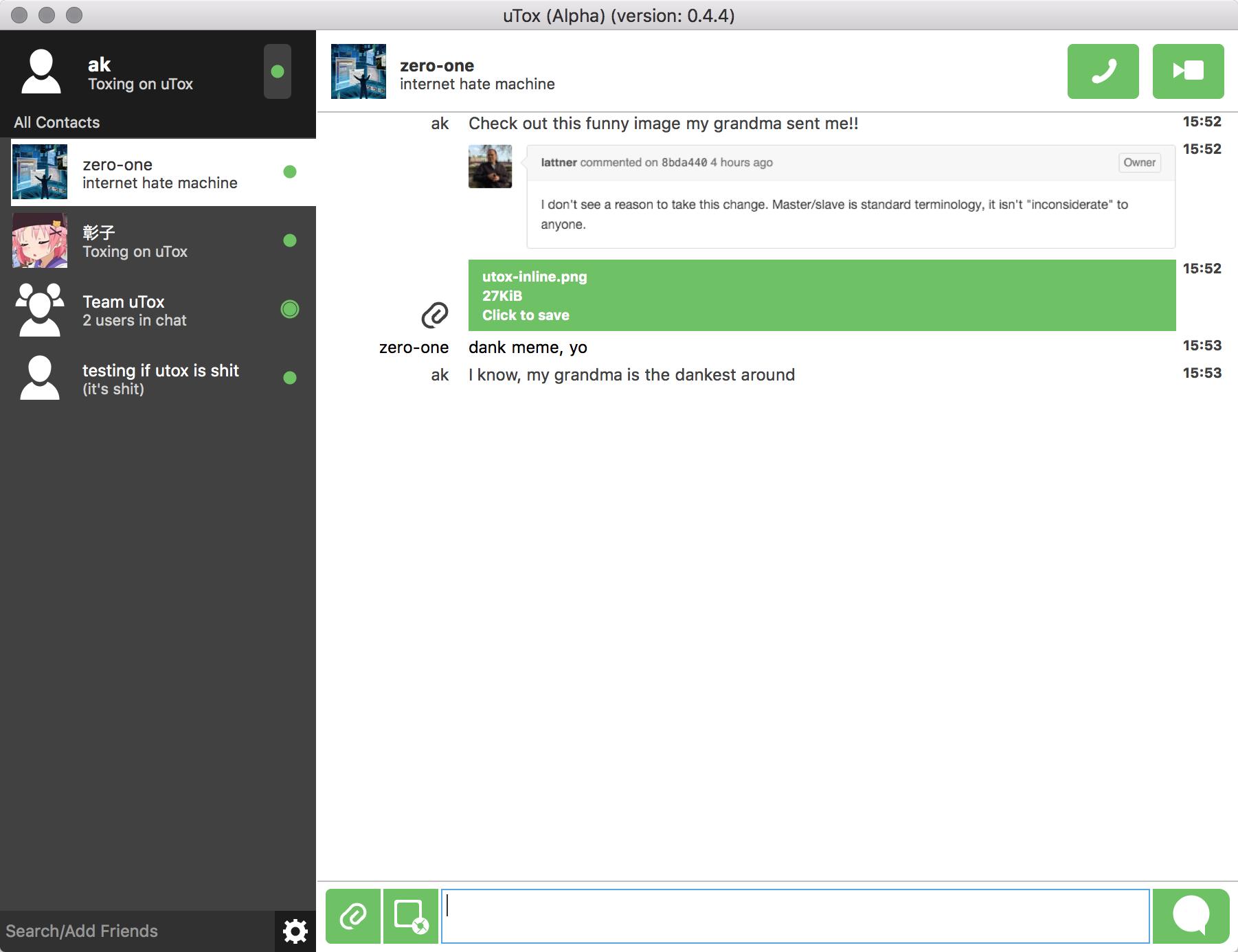 Capture d'écran uTox Mac