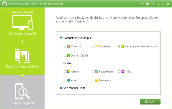 Capture d'écran FonePaw Android Récupération de données Android pour Mac