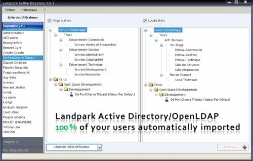 Capture d'écran LANDPARK ACTIVE DIRECTORY/OPENLDAP
