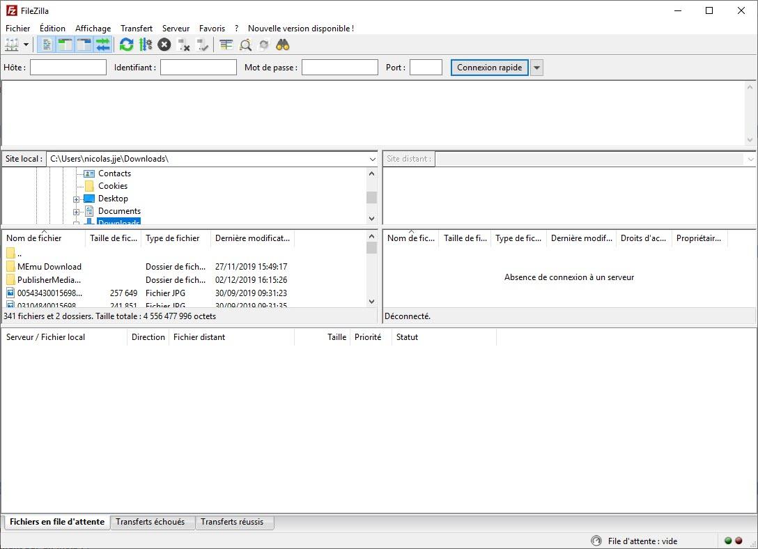 Capture d'écran FileZilla