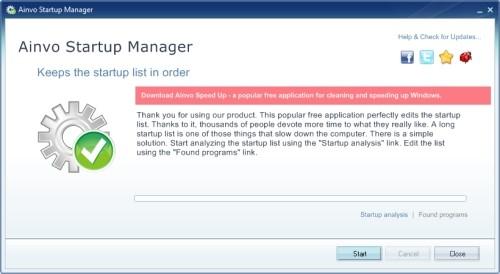Capture d'écran Ainvo Startup Manager