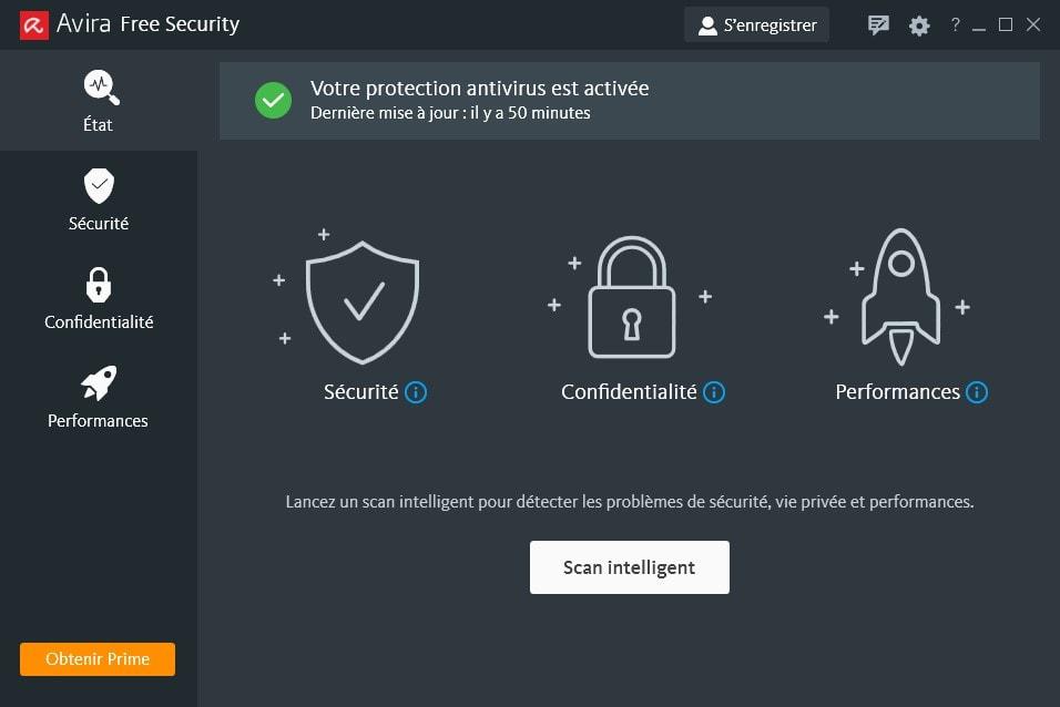 Capture d'écran Avira Free Antivirus