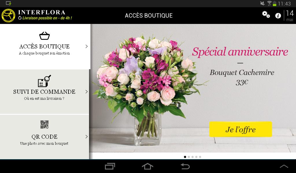 Capture d'écran Interflora Android