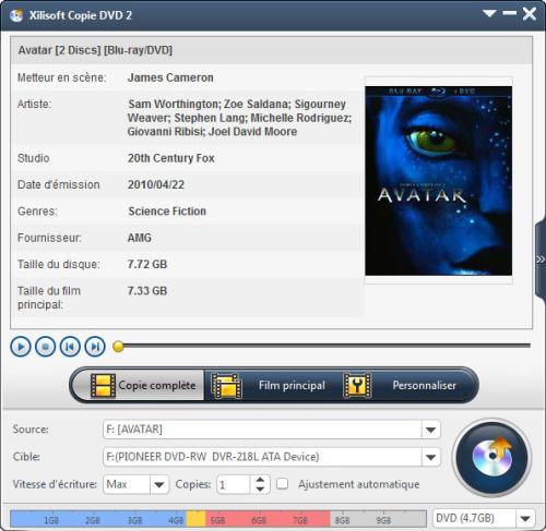Capture d'écran Xilisoft Copie DVD 2