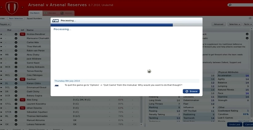 Capture d'écran Football Manager 2011