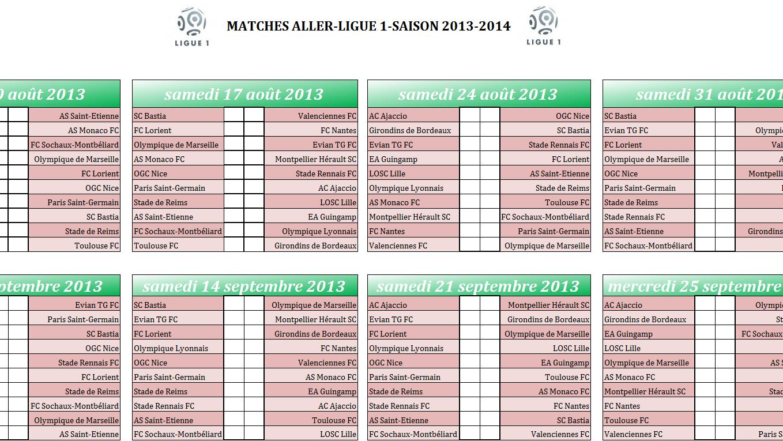 Capture d'écran Calendrier ligue 1 2013-2014