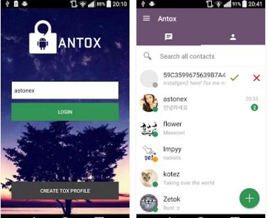 Capture d'écran Antox Android