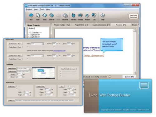 Capture d'écran AllWebMenus Web/jQuery Tooltips Addin