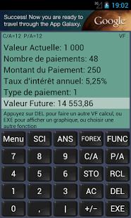 Capture d'écran Calculatrice Financière
