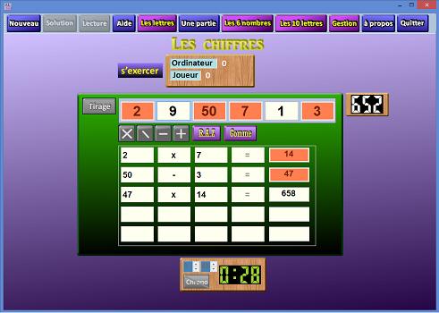 Capture d'écran Le jeu des chiffres et des lettres