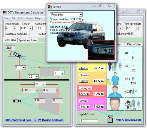 Capture d'écran CCTV Design Lens Calculator