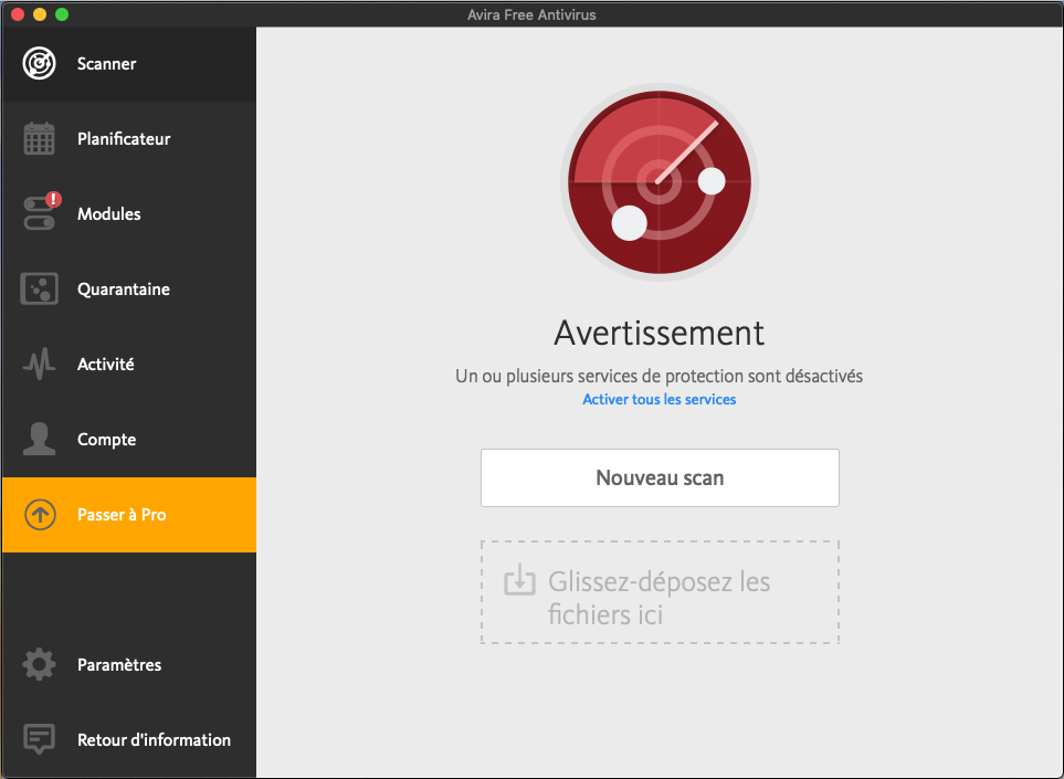 Capture d'écran Avira Free Mac Security