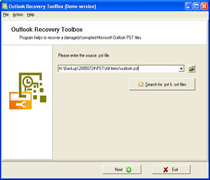 Capture d'écran Outlook Recovery Toolbox