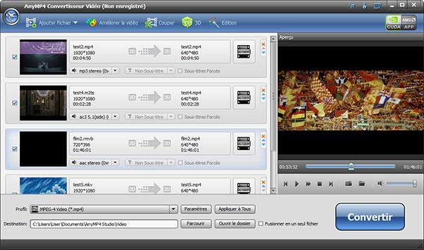 Capture d'écran AnyMP4 Convertisseur Vidéo