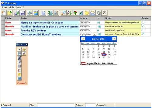 Capture d'écran ES-Listing