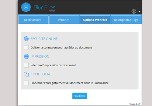 Capture d'écran BlueFiles Printer version 1.1.7 / 2016