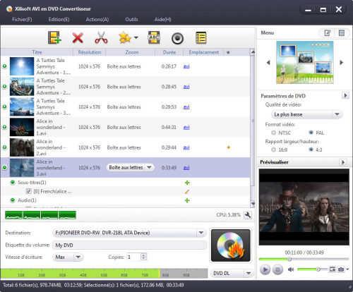 Capture d'écran Xilisoft AVI en DVD Convertisseur