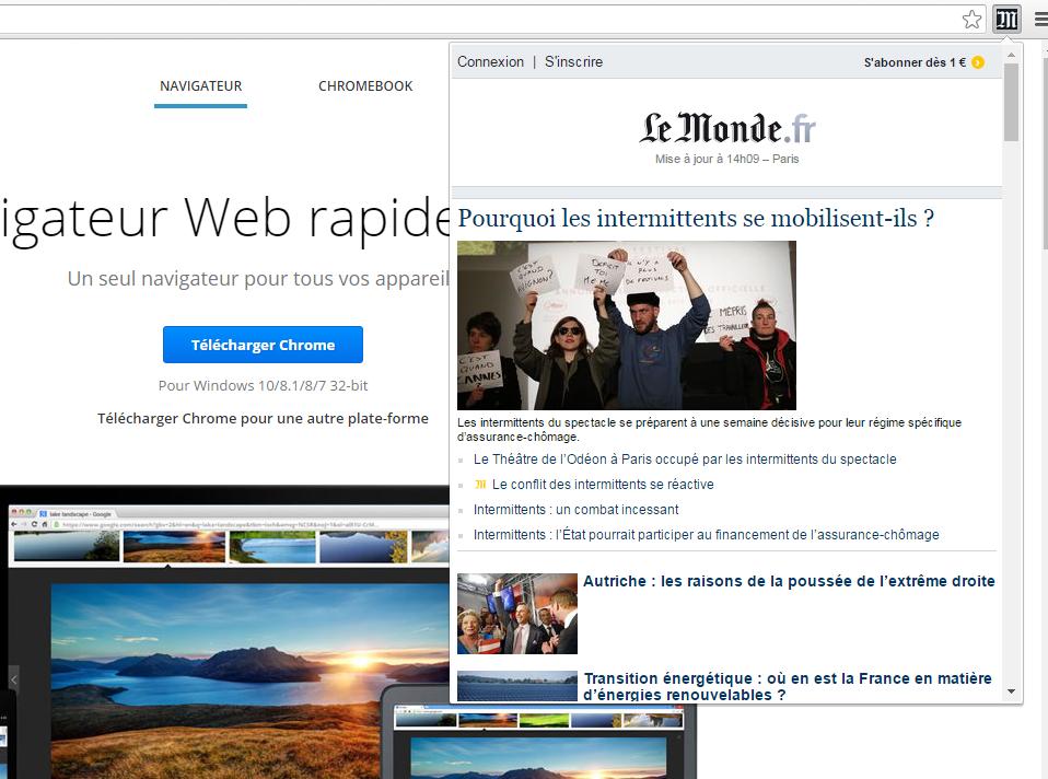 Capture d'écran LeMonde News pour Chrome