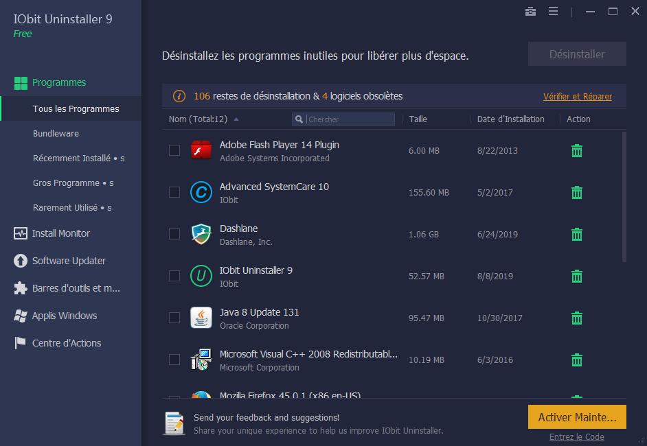 Capture d'écran IObit Uninstaller 8