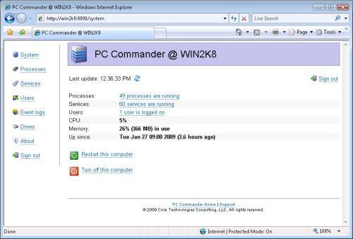 Capture d'écran PC Commander